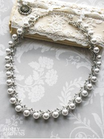 Silver Pearl & Diamante Necklace