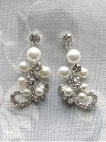Silver Swirl Diamante & Pearl Earrings