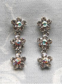 Small Daisy Clear/AB Crystal 3 Drop Earrings