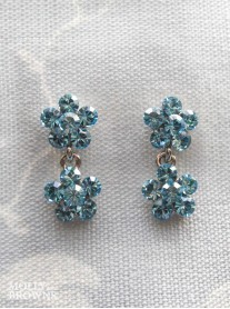 Small Daisy Aqua Crystal 2 Drop Earrings