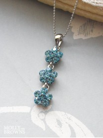 Small Daisy Aqua Crystal 3 Drop Necklace