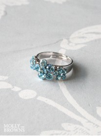 Small Daisy Aqua Crystal 3 Flower Ring