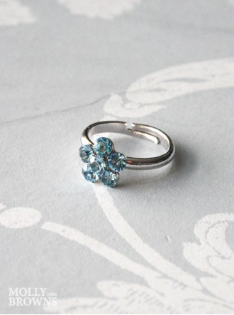 Small Daisy Aqua Crystal Ring