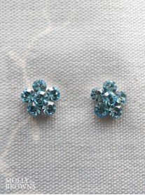 Small Daisy Aqua Crystal Stud Earrings
