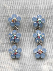 Small Daisy Blue Opal Crystal 3 Drop Earrings
