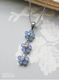 Small Daisy Blue Opal Crystal 3 Drop Necklace