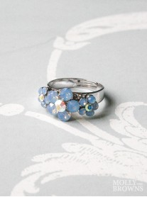 Small Daisy Blue Opal Crystal 3 Flower Ring