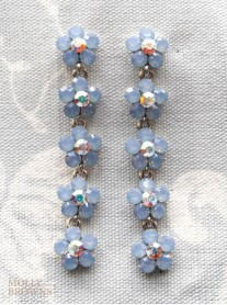 Small Daisy Blue Opal Crystal 5-Drop Earrings