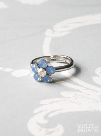 Small Daisy Blue Opal Crystal Ring