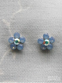 Small Daisy Blue Opal Crystal Stud Earrings