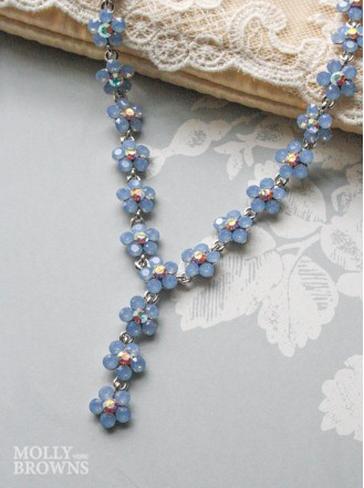 Small Daisy Blue Opal Crystal Y Drop Necklace