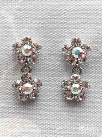 Small Daisy Clear/AB Crystal 2 Drop Earrings
