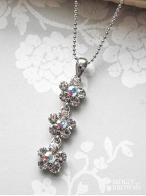 Small Daisy Clear/AB Crystal 3 Drop Necklace