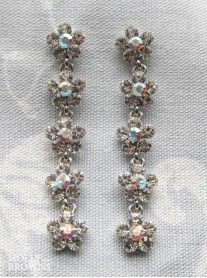 Small Daisy Clear/AB Crystal 5 Drop Earrings