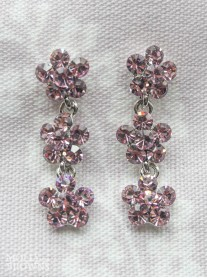 Small Daisy Light Amethyst Crystal 3 Drop Earrings