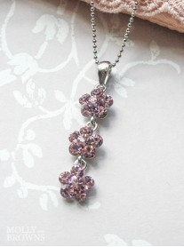 Small Daisy Light Amethyst Crystal 3 Drop Necklace