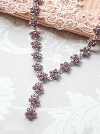 Small Daisy Light Amethyst Crystal Y Drop Necklace