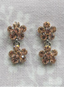 Small Daisy Light Gold Crystal 2 Drop Earrings