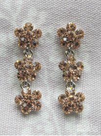Small Daisy Light Gold Crystal 3 Drop Earrings