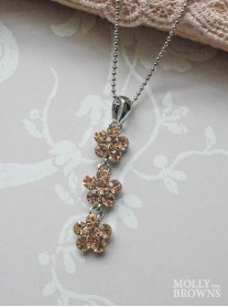 Small Daisy Light Gold Crystal 3 Drop Necklace