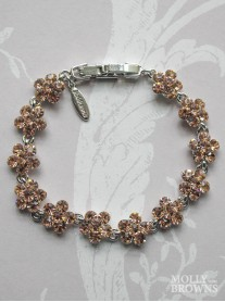 Small Daisy Light Gold Crystal Bracelet