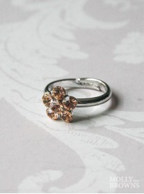 Small Daisy Light Gold Crystal Ring
