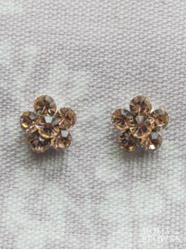 Small Daisy Light Gold Crystal Stud Earrings