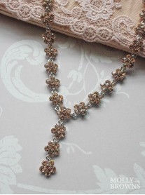 Small Daisy Light Gold Crystal Y Drop Necklace