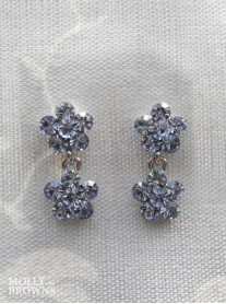Small Daisy Light Sapphire Crystal 2 Drop Earrings