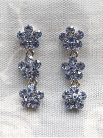 Small Daisy Light Sapphire Crystal 3 Drop Earrings