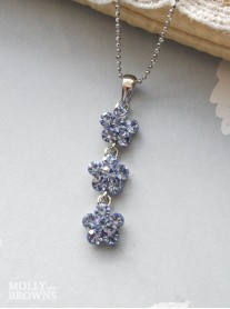 Small Daisy Light Sapphire Crystal 3 Drop Necklace