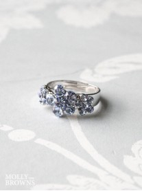 Small Daisy Light Sapphire Crystal 3 Flower Ring