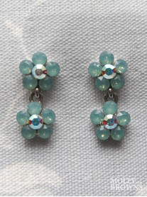 Small Daisy Mint Opal Crystal 2-Drop Earrings