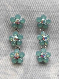 Small Daisy Mint Crystal 3 Drop Earrings