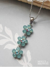 Small Daisy Mint Opal Crystal 3 Drop Necklace