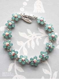 Small Daisy Mint Crystal Bracelet