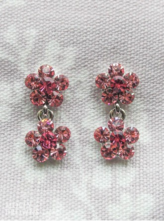 Small Daisy Pink Crystal 2 Drop Earrings