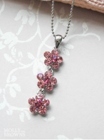 Small Daisy Pink Crystal 3 Drop Necklace