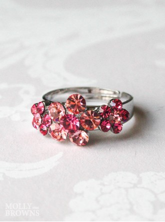 Small Daisy Pink Crystal 3 Flower Ring