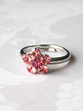 Small Daisy Pink Crystal Ring