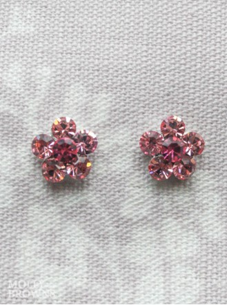 Small Daisy Pink Crystal Stud Earrings
