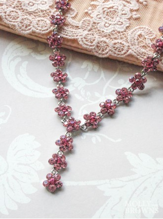 Small Daisy Pink Crystal Y Drop Necklace