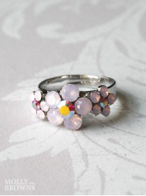 Small Daisy Pink Opal 3 Flower Ring