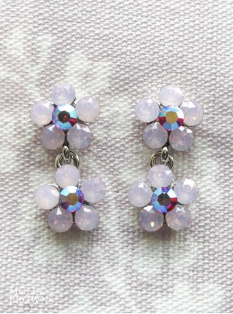 Small Daisy Pink Opal Crystal 2 Drop Earrings