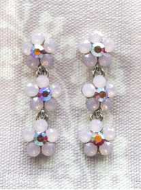 Small Daisy Pink Opal Crystal 3 Drop Earrings