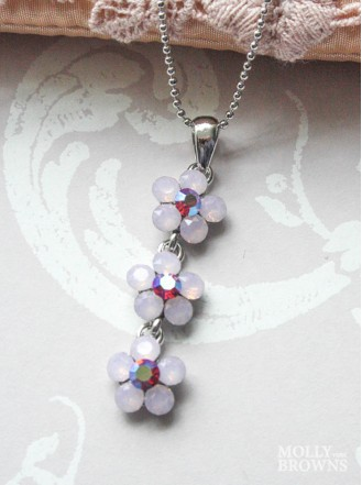Small Daisy Pink Opal Crystal 3-Drop Necklace