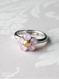 Small Daisy Pink Opal Crystal Ring