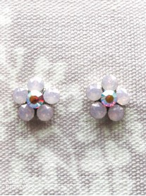Small Daisy Pink Opal Crystal Stud Earrings