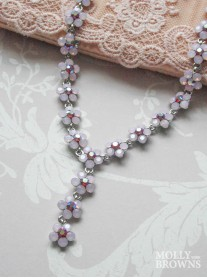 Small Daisy Pink Opal Crystal Y Drop Necklace
