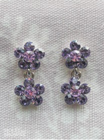Small Daisy Purple Crystal 2 Drop Earrings